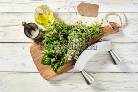 fresh bouquet garni of assorted potherbs