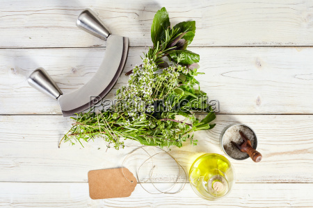 mezzaluna knife bouquet garni olive oil