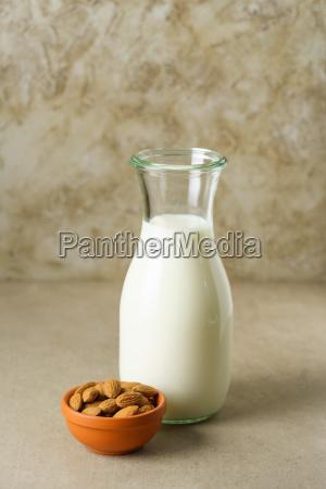almond milk in a bottle