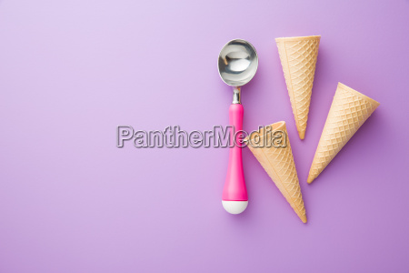 wafer cone and ice cream scoop