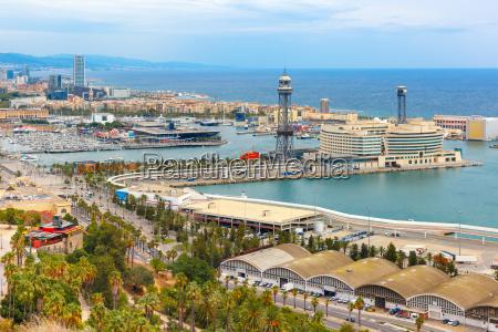 aerial view barcelona catalonia spain