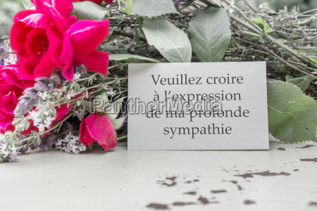 french mourning card with roses and
