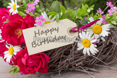 birthday card with summer flowers