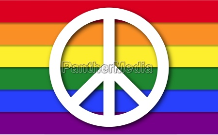peace symbol on lgbt rainbow flag