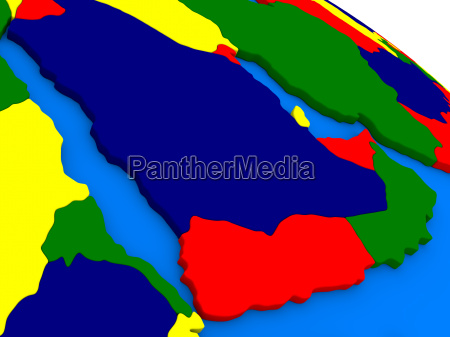 arab peninsula on colorful 3d globe