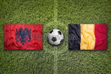 albania vs belgium flags on soccer