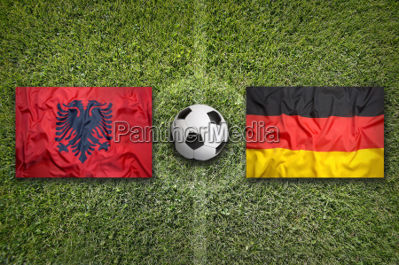 albania vs germany flags on soccer