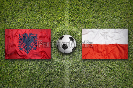 albania vs poland flags on soccer