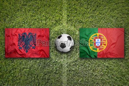 albania vs portugal flags on soccer