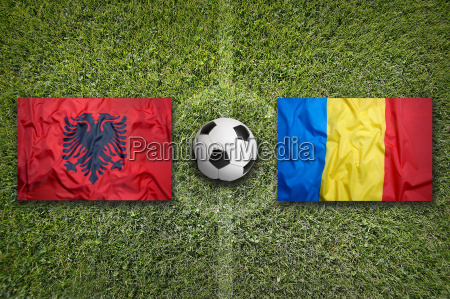 albania vs romania flags on soccer
