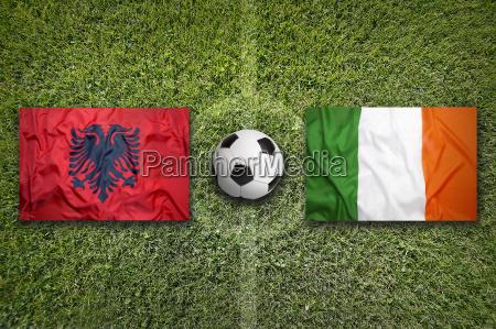 albania vs ireland flags on soccer