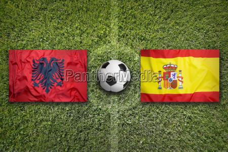 albania vs spain flags on soccer