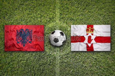 albania vs northern ireland flags on