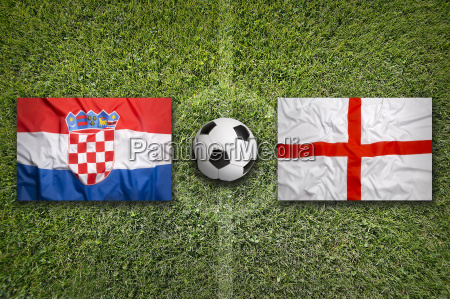 croatia vs england flags on soccer