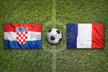 croatia vs france flags on soccer