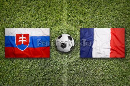 slovakia vs france flags on soccer