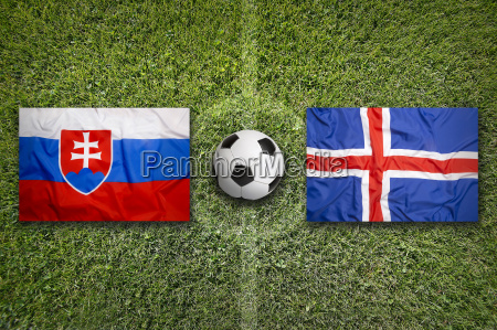slovakia vs iceland flags on soccer