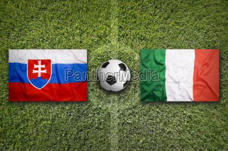 slovakia vs italy flags on soccer