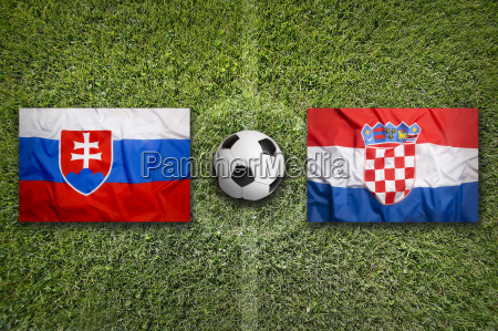 slovakia vs croatia flags on soccer