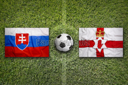 slovakia vs northern ireland flags on