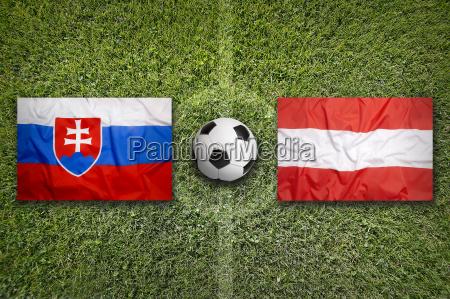 slovakia vs austria flags on soccer