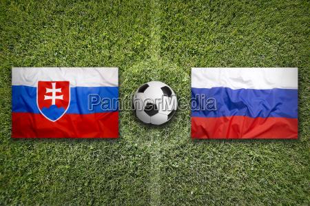slovakia vs russia flags on soccer