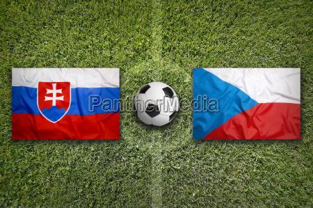 slovakia vs czech republic flags on