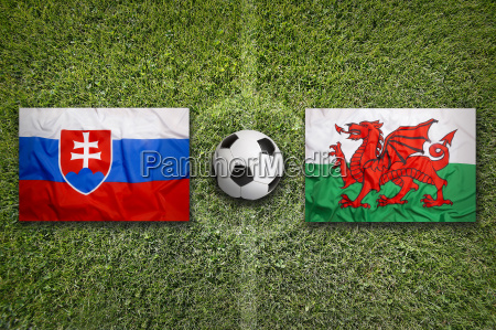 slovakia vs wales flags on soccer