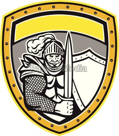 knight full armor open visor sword