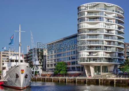 traditional ship harbour in hamburgs hafencity