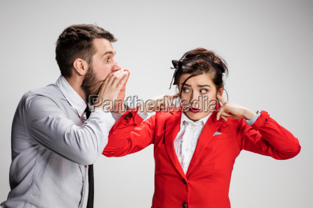 the business man and woman communicating