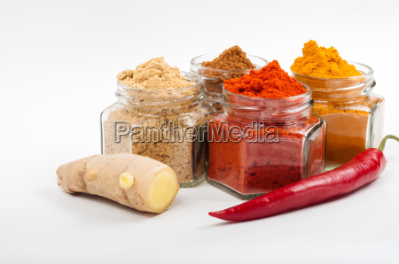 various spices ginger chilli turmeric in