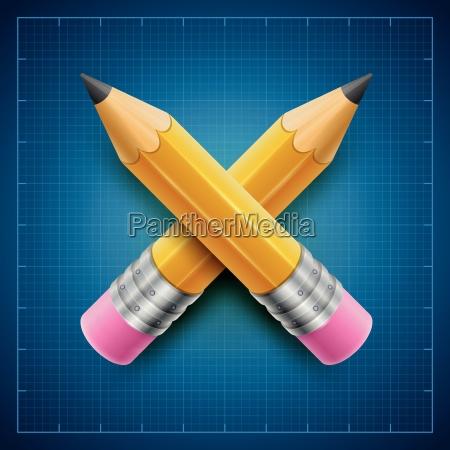 yellow pencils on blueprint background vector