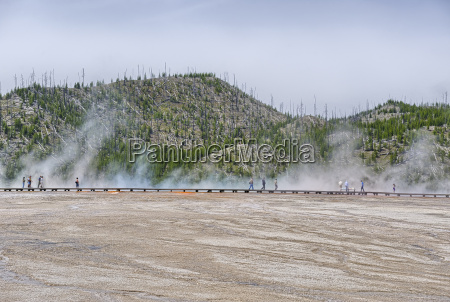 visitors exploring the grand prismatic spring