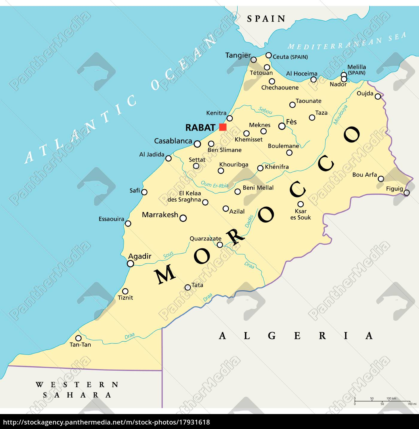Morocco Political Map Royalty Free Image 17931618