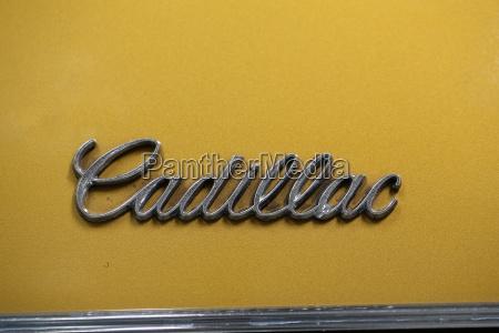 cadillac metallic logo closeup on cadillac