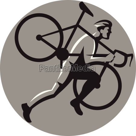 cyclocross athlete carrying bicycle circle retro