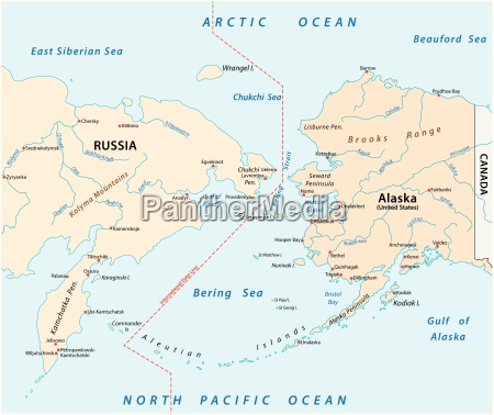 vector map of the bering strait
