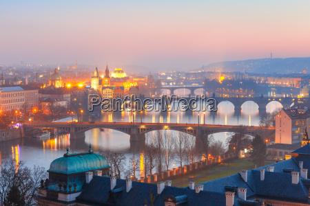 top view bridges on the vltava