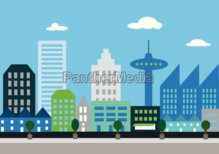 graphic of a futuristic city