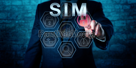 cyber security manager touching sim