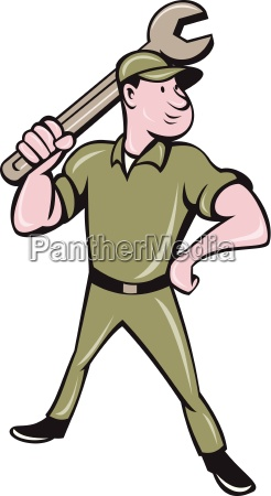 mechanic wielding spanner cartoon