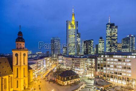 view to skyline of frankfurt with