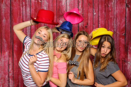 girls have fun with a photo