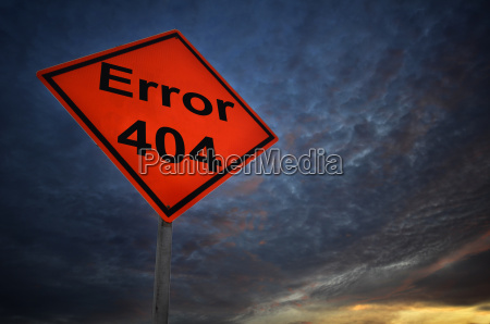 error 404 warning road sign