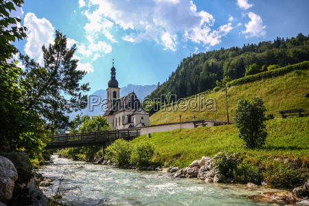 church bridge stream bavaria upper bavaria