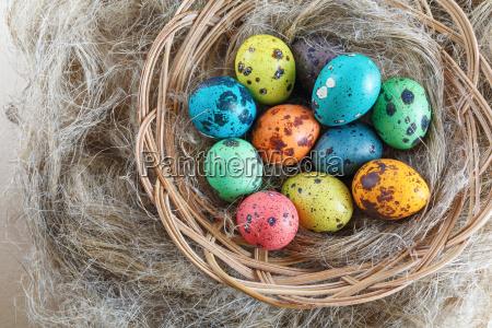 easter eggs on linen background