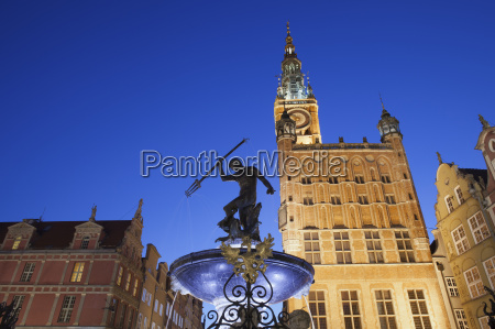 poland gdansk neptune fountain and city