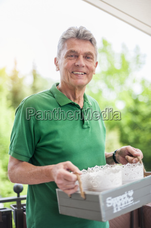 portrait of smiling senior man on