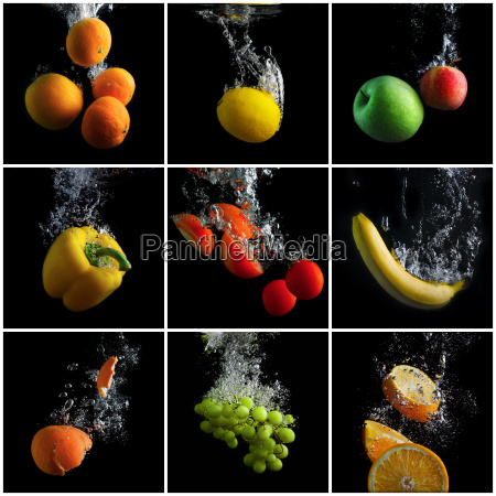fruits and vegetables in water
